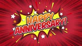 popup : Happy Anniversary Word Retro Cartoon Comic Bubbles Naadloze lus groen scherm Stockvideo
