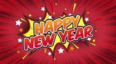 comics book : Happy new year Word Retro Cartoon Comic Bubbles Seamless loop ( green Screen )