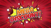 popup : mega discount Word Retro Cartoon Comic Bubbles Seamless loop (groen scherm) Stockvideo