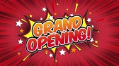 popup : grand opening Word Retro Cartoon Comic Bubbles Seamless loop (groen scherm)