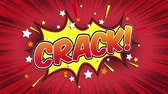 popup : Crack Word Retro Cartoon Comic Bubbles Seamless loop (groen scherm)