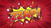 comics book : Zzap Word Retro Cartoon Comic Bubbles Seamless loop ( green Screen )
