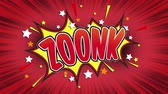 comics book : zoonk Word Retro Cartoon Comic Bubbles Popup Style Expressions Colored Bomb and Smoke Strip Dotted and red Speed Radial line Seamless loop Animation black  green screen 4k doodle background