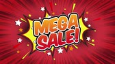 comics book : mega sale Word Retro Cartoon Comic Bubbles Popup Style Expressions Colored Bomb and Smoke Strip Dotted and red Speed Radial line Seamless loop Animation black  green screen 4k doodle background Stock Footage