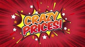 comic boom : Crazy Prices! Word Retro Cartoon Comic Bubbles Popup Style Expressions Colored Bomb and Smoke Strip Dotted and red Speed Radial line Seamless loop Animation black  green screen 4k doodle background.