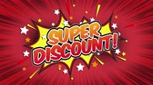 comic boom : Super discount Word Retro Cartoon Comic Bubbles Popup Style Expressions Colored Bomb and Smoke Strip Dotted and red Speed Radial line Seamless loop Animation black  green screen doodle background.