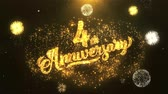 tebrik etmek : 4th happy anniversary Greeting Card text Reveal from Golden Firework & Crackers on Glitter Shiny Magic Particles Sparks Night for Celebration, Wishes, Events, Message, holiday, festival Stok Video