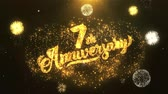 sete : 7th happy anniversary Greeting Card text Reveal from Golden Firework & Crackers on Glitter Shiny Magic Particles Sparks Night for Celebration, Wishes, Events, Message, holiday, festival