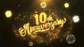 tebrik etmek : 10th happy anniversary Greeting Card text Reveal from Golden Firework & Crackers on Glitter Shiny Magic Particles Sparks Night for Celebration, Wishes, Events, Message, holiday, festival