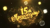 tebrik etmek : 15th happy anniversary Greeting Card text Reveal from Golden Firework & Crackers on Glitter Shiny Magic Particles Sparks Night for Celebration, Wishes, Events, Message, holiday, festival