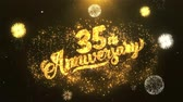 odpočítávání : 35th happy anniversary Greeting Card text Reveal from Golden Firework & Crackers on Glitter Shiny Magic Particles Sparks Night for Celebration, Wishes, Events, Message, holiday, festival