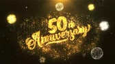 gratulál : 50th happy anniversary Greeting Card text Reveal from Golden Firework & Crackers on Glitter Shiny Magic Particles Sparks Night for Celebration, Wishes, Events, Message, holiday, festival