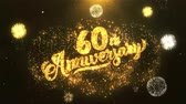 tebrik etmek : 60th happy anniversary Greeting Card text Reveal from Golden Firework & Crackers on Glitter Shiny Magic Particles Sparks Night for Celebration, Wishes, Events, Message, holiday, festival