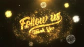 me : Follow us Greeting Card text Reveal from Golden Firework & Crackers on Glitter Shiny Magic Particles Sparks Night for Celebration, Wishes, Events, Message, holiday, festival