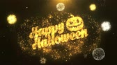 sopa : Halloween Greeting Card text Reveal from Golden Firework & Crackers on Glitter Shiny Magic Particles Sparks Night for Celebration, Wishes, Events, Message, holiday, festival Stok Video
