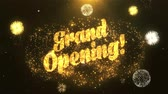 duyurmak : Grand Opening Greeting Card text Reveal from Golden Firework & Crackers on Glitter Shiny Magic Particles Sparks Night for Celebration, Wishes, Events, Message, holiday, festival