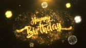 tebrik etmek : Happy birthday Greeting Card text Reveal from Golden Firework & Crackers on Glitter Shiny Magic Particles Sparks Night for Celebration, Wishes, Events, Message, holiday, festival Stok Video