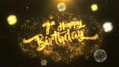 tebrik etmek : 7th Happy birthday Greeting Card text Reveal from Golden Firework & Crackers on Glitter Shiny Magic Particles Sparks Night for Celebration, Wishes, Events, Message, holiday, festival Stok Video