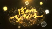 woord in vuur : 13th Happy birthday Greeting Card tekst Onthullen van Golden Firework & Crackers on Glitter Glanzende Magic Particles Sparks Night for Celebration, Wishes, Events, Message, holiday, festival