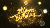 vinte anos : 20th Happy birthday Greeting Card text Reveal from Golden Firework & Crackers on Glitter Shiny Magic Particles Sparks Night for Celebration, Wishes, Events, Message, holiday, festival