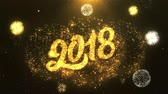 tebrik etmek : Happy New Year 2018 Greeting Card text Reveal from Golden Firework & Crackers on Glitter Shiny Magic Particles Sparks Night for Celebration, Wishes, Events, Message, holiday, festival