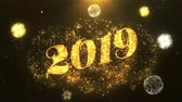 Happy new year 2019 Greeting Card text Reveal from Golden Firework & Crackers on Glitter Shiny Magic Particles Sparks Night for Celebration, Wishes, Events, Message, holiday, festival Vídeos