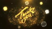 hálaadás : Thank You Greeting Card text Reveal from Golden Firework & Crackers on Glitter Shiny Magic Particles Sparks Night for Celebration, Wishes, Events, Message, holiday, festival