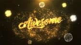 woord in vuur : Awesome Greeting Card text Onthullen van Golden Firework & Crackers on Glitter Glanzende Magic Particles Sparks Night voor Celebration, Wishes, Events, Message, holiday, festival Stockvideo