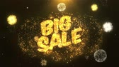 с Новым годом : Big sale  Greeting Card text Reveal from Golden Firework & Crackers on Glitter Shiny Magic Particles Sparks Night for Celebration, Wishes, Events, Message, holiday, festival