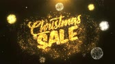 woord in vuur : Christmas Sale Greeting Card tekst Onthullen van Golden Firework & Crackers on Glitter Glanzende Magic Particles Sparks Night voor Celebration, Wishes, Events, Message, holiday, festival