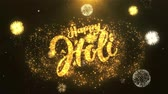 havai fişek gösterisi : Happy holi  Greeting Card text Reveal from Golden Firework & Crackers on Glitter Shiny Magic Particles Sparks Night for Celebration, Wishes, Events, Message, holiday, festival Stok Video
