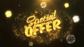 cupom : special offer Greeting Card text Reveal from Golden Firework & Crackers on Glitter Shiny Magic Particles Sparks Night for Celebration, Wishes, Events, Message, holiday, festival