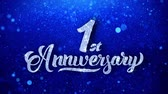 yıllık : 1st Anniversary Wishes Blue Glitter Sparkling Dust Blinking Particles Looped