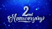 yıllık : 2nd Anniversary Wishes Blue Glitter Sparkling Dust Blinking Particles Looped