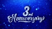yıllık : 3rd Anniversary Wishes Blue Glitter Sparkling Dust Blinking Particles Looped Stok Video