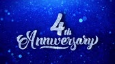 yıllık : 4th Anniversary Wishes Blue Glitter Sparkling Dust Blinking Particles Looped Stok Video