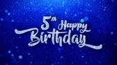 pohlednice : 5th Happy Birthday Wishes Blue Glitter Sparkling Dust Blinking Particles Looped