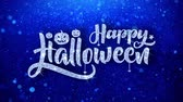 pohlednice : happy Halloween Wishes Blue Glitter Sparkling Dust Blinking Particles Looped