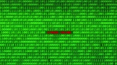csapkod : Wall of Green Binary Code Revealing CYBER CRIME Word Between Random Binary Data Matrix Background Stock mozgókép