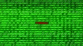 fingerprint : Wall of Green Binary Code Revealing FIREWALL BREACH Word Between Random Binary Data Matrix Background