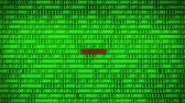fingerprint : Wall of Green Binary Code Revealing Malware Word Between Random Binary Data Matrix Background