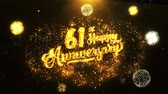 vavřín : 61st Happy Anniversary Text Greeting and Wishes card Made from Glitter Particles From Golden Firework display on Black Night Motion Background. for celebration, party, greeting card, invitation card. Dostupné videozáznamy