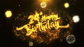 laur : 24th Happy Birthday Text Greeting and Wishes card Made from Glitter Particles From Golden Firework display on Black Night Motion Background. for celebration, party, greeting card, invitation card.