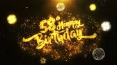 jubileu : 58th Happy Birthday Text Greeting and Wishes card Made from Glitter Particles From Golden Firework display on Black Night Motion Background. for celebration, party, greeting card, invitation card.