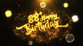 почерк : 88th Happy Birthday Text Greeting and Wishes card Made from Glitter Particles From Golden Firework display on Black Night Motion Background. for celebration, party, greeting card, invitation card.
