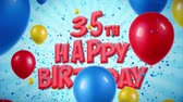 multimídia : 35th Happy Birthday Red Text Appears on Confetti Popper Explosions Falling and Glitter Particles, Colorful Flying Balloons Seamless Loop Animation for Wishes Greeting, Party, Invitation, card.