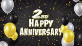 bênção : 2nd Happy Anniversary Black Text Appears on Confetti Popper Explosions Falling and Glitter Particles, Colorful Flying Balloons Seamless Loop Animation for Wishes Greeting, Party, Invitation, card.