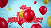 yıldönümü : 4th Happy Anniversary Red Text Appears on Confetti Popper Explosions Falling and Glitter Particles, Colorful Flying Balloons Seamless Loop Animation for Wishes Greeting, Party, Invitation, card.