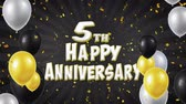 požehnání : 5th Happy Anniversary Black Text Appears on Confetti Popper Explosions Falling and Glitter Particles, Colorful Flying Balloons Seamless Loop Animation for Wishes Greeting, Party, Invitation, card.