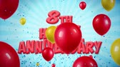 bênção : 8th Happy Anniversary Red Text Appears on Confetti Popper Explosions Falling and Glitter Particles, Colorful Flying Balloons Seamless Loop Animation for Wishes Greeting, Party, Invitation, card.